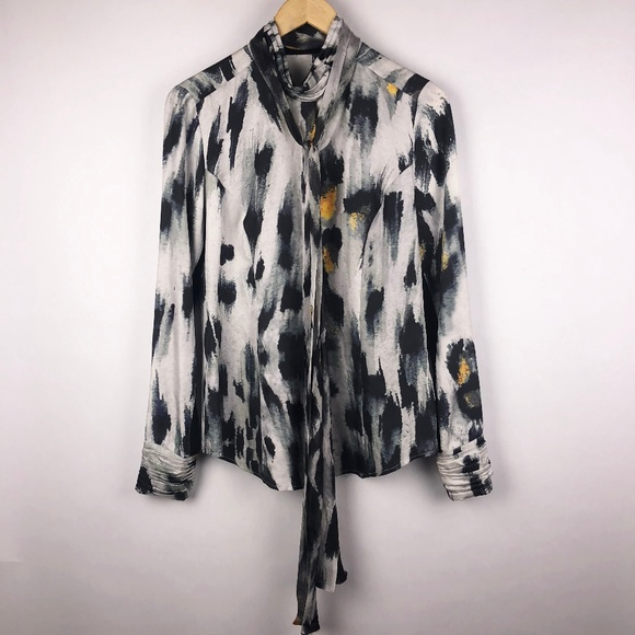 1078230669d44 L.A.M.B. Tops - LAMB Silk Tie Neck Long Sleeve Blouse Animal Print